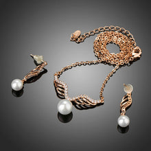 Load image into Gallery viewer, Rose Gold Angel Wings and Simulated Pearl Necklace and Earrings Set - KHAISTA Fashion Jewellery