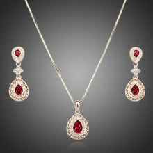 Load image into Gallery viewer, Rose Gold Carved Red Crystal Drop Necklace and Earrings Set - KHAISTA Fashion Jewellery