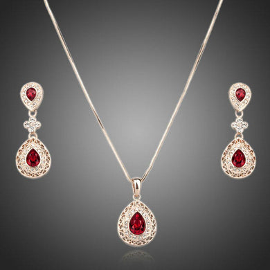 Rose Gold Carved Red Crystal Drop Necklace and Earrings Set - KHAISTA Fashion Jewellery
