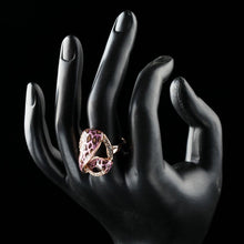 Load image into Gallery viewer, Rose Gold Color 7 Design with Austrian Cystal Pink Leopard Ring - KHAISTA Fashion Jewellery