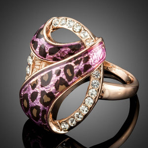 Rose Gold Color 7 Design with Austrian Cystal Pink Leopard Ring - KHAISTA Fashion Jewellery