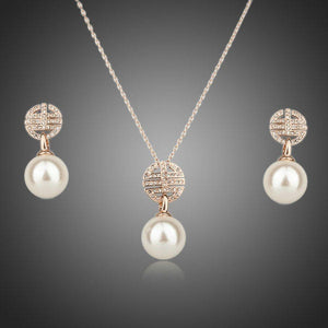 Rose Gold Color Austria Crystal Paved & Simulated Pearl Jewelry Set - KHAISTA Fashion Jewellery