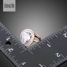 Load image into Gallery viewer, Rose Gold Color Clear Cubic Zirconia Water Drop Adjustable Ring - KHAISTA Fashion Jewellery