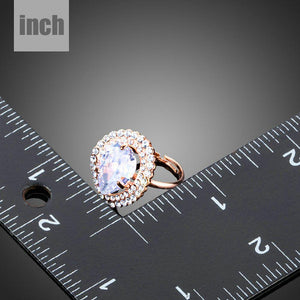 Rose Gold Color Clear Cubic Zirconia Water Drop Adjustable Ring - KHAISTA Fashion Jewellery