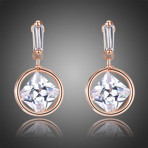 Rose Gold Color Drop Earrings -KPE0341 - KHAISTA Fashion Jewellery