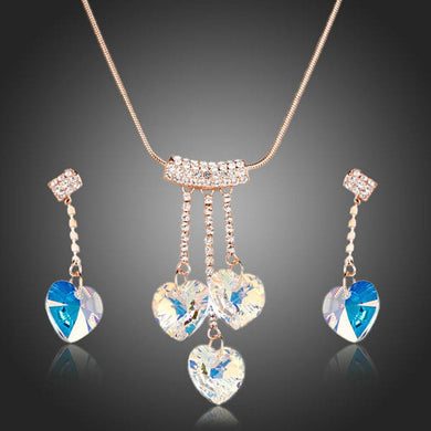 Rose Gold Color Heart Austrian Crystal Jewelry Set - KHAISTA Fashion Jewellery