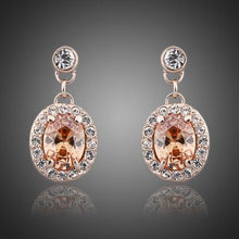 Load image into Gallery viewer, Rose Gold Color Orange Crystal Round Drop Earrings - KHAISTA Fashion Jewellery