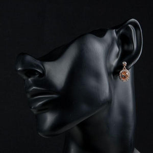 Rose Gold Color Orange Crystal Round Drop Earrings - KHAISTA Fashion Jewellery