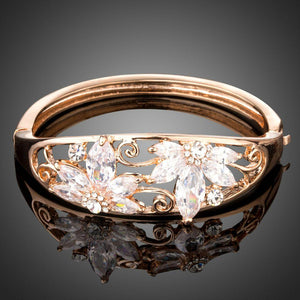 Rose Gold Cubic Zirconia Bangle -KBQ0097 - KHAISTA Fashion Jewelry