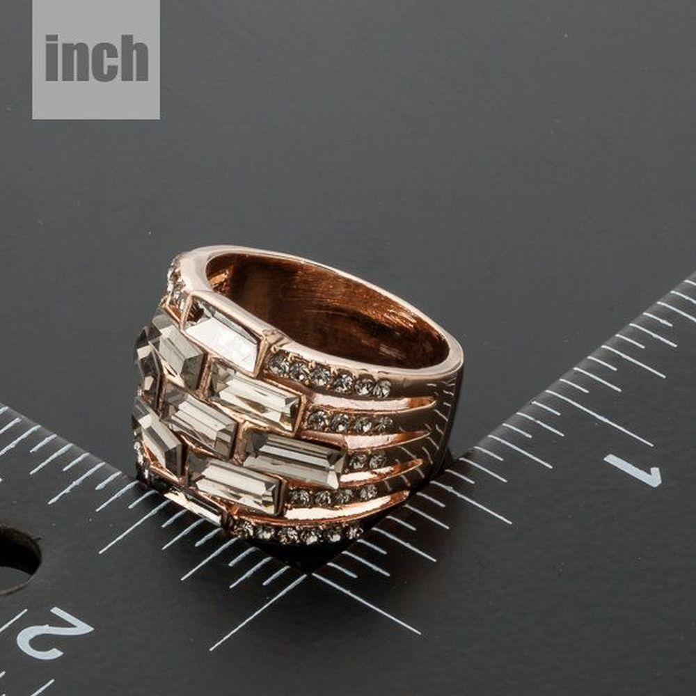 Rose Gold Designer Crystal Ring -KFR0112 - KHAISTA