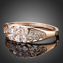 Load image into Gallery viewer, Rose Gold Flowers Cubic Zirconia Bangle -KBQ0053 - KHAISTA Fashion Jewelry