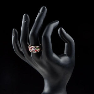 Rose Gold Multi Color Crystal Ring -KFR0097 - KHAISTA