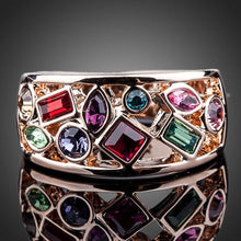 Load image into Gallery viewer, Rose Gold Multi Color Crystal Ring -KFR0097 - KHAISTA