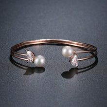 Load image into Gallery viewer, Rose Gold Pearl Adjustable Bangle -KBQ0106 - KHAISTA Fashion Jewelry