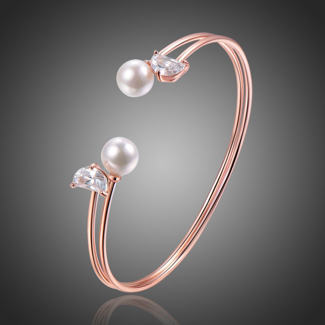 Rose Gold Pearl Adjustable Bangle -KBQ0106 - KHAISTA Fashion Jewelry