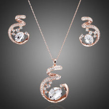 Load image into Gallery viewer, Rose Gold Stellux Austrian Necklace and Earrings Set - KHAISTA Fashion Jewellery