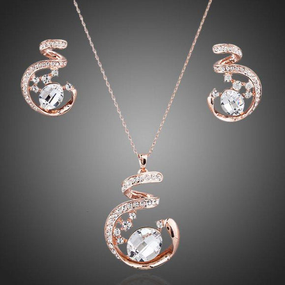 Rose Gold Stellux Austrian Necklace and Earrings Set - KHAISTA Fashion Jewellery