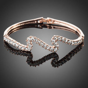 Rose Gold Wave Bracelet -KBQ0018 - KHAISTA Fashion Jewelry