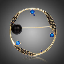 Load image into Gallery viewer, Round Blue Cubic Zirconia Stars and Black Pearl Earth Brooch -KFJB0105 - KHAISTA1