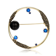 Load image into Gallery viewer, Round Blue Cubic Zirconia Stars and Black Pearl Earth Brooch -KFJB0105 - KHAISTA5
