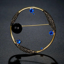 Load image into Gallery viewer, Round Blue Cubic Zirconia Stars and Black Pearl Earth Brooch -KFJB0105 - KHAISTA2