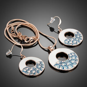 Round Blue Rainbow Drop Earrings & Pendant Necklace Set - KHAISTA Fashion Jewellery