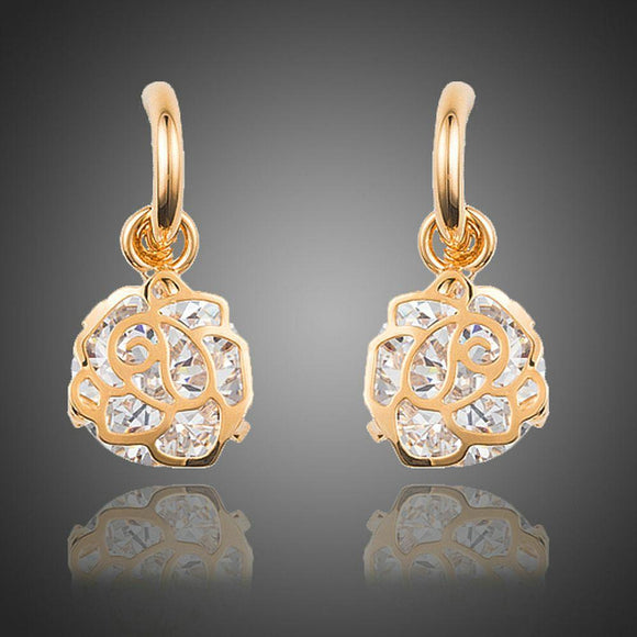 Round Cage Cubic Zirconia Dangle Drop Earrings - KHAISTA Fashion Jewellery