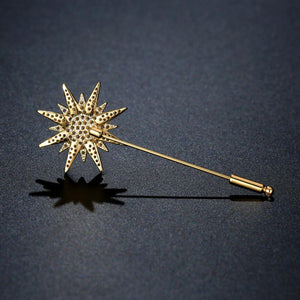 Round Clear Cubic Zirconia Plant Brooch Pin - KHAISTA Fashion Jewellery