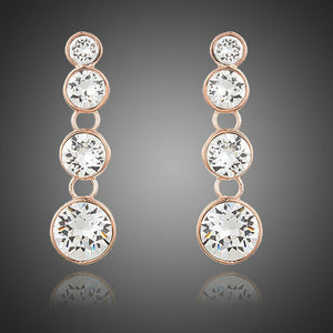 Round Crystal Chain Drop Earrings - KHAISTA Fashion Jewellery