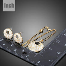 Load image into Gallery viewer, Round Crystal Clip Earrings + Pendant Set - KHAISTA Fashion Jewellery