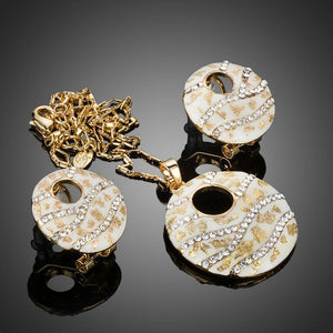 Round Crystal Clip Earrings + Pendant Set - KHAISTA Fashion Jewellery