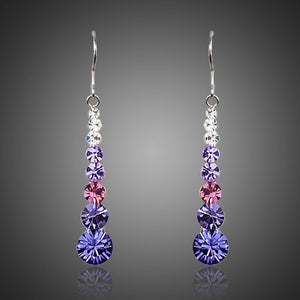 Round Crystal Drop Earrings - KHAISTA Fashion Jewellery