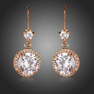 Round Cubic Zirconia Fashion Drop Earrings - KHAISTA Fashion Jewellery