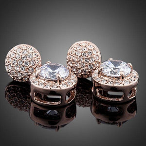 Round Cubic Zirconia & Rhinestone Drop Earrings - KHAISTA Fashion Jewellery