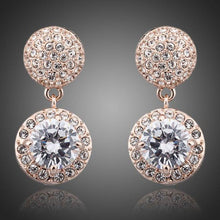 Load image into Gallery viewer, Round Cubic Zirconia & Rhinestone Drop Earrings - KHAISTA Fashion Jewellery