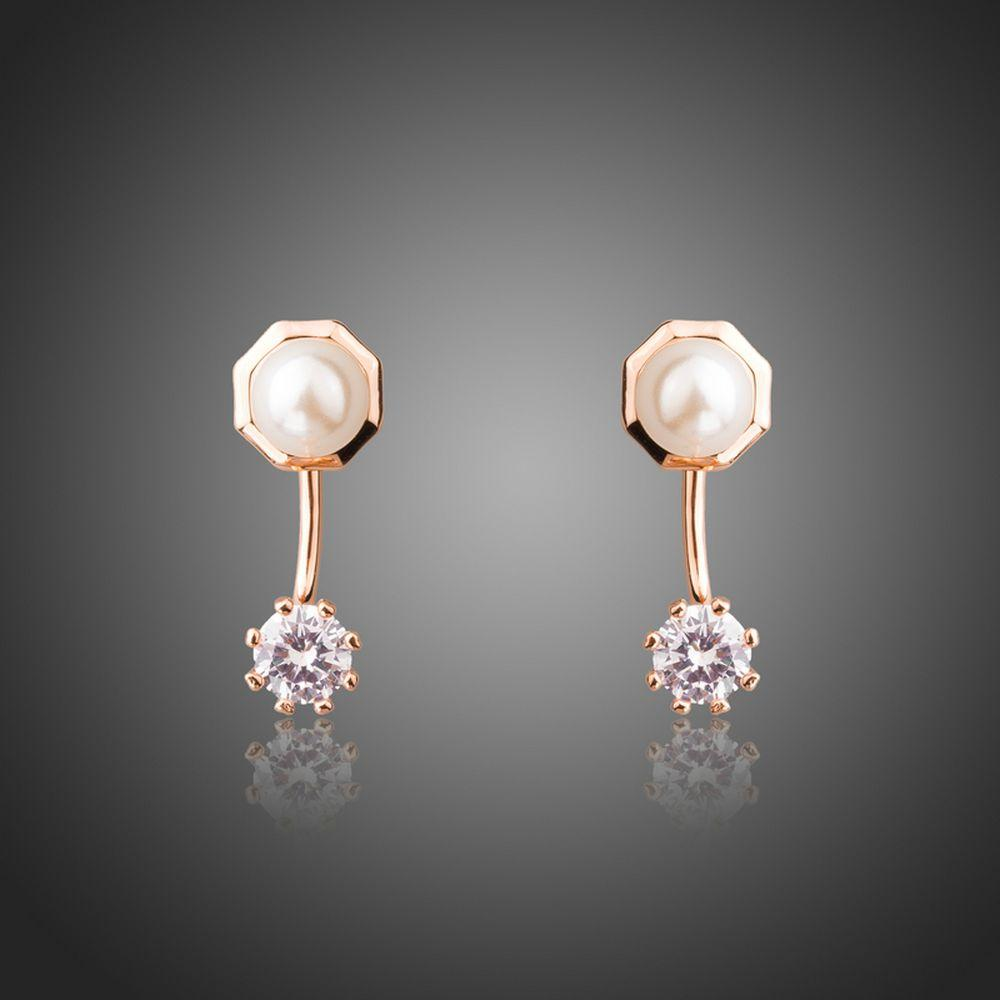Round Cubic Zirconia Simulated Pearl Stud Earrings -KPE0302 - KHAISTA Fashion Jewellery