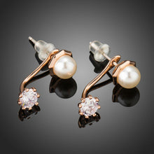 Load image into Gallery viewer, Round Cubic Zirconia Simulated Pearl Stud Earrings -KPE0302 - KHAISTA Fashion Jewellery