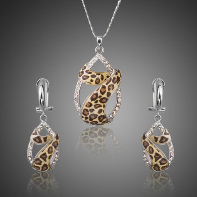 Round CZ Cystal Leopard Pattern Jewelry Set - KHAISTA Fashion Jewellery