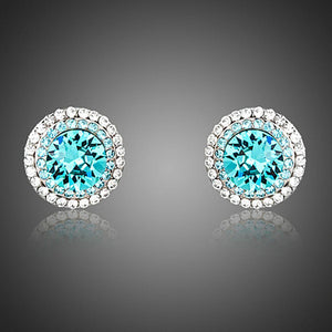 Round Deep Sea Stud Earrings - KHAISTA Fashion Jewellery