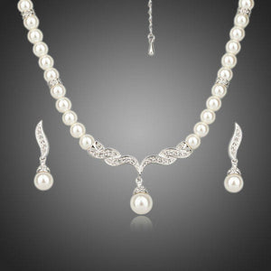 Round Pearl Strand Earrings and Necklace Jewelry Set - KHAISTA Fashion Jewellery