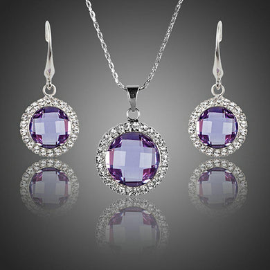 Round Purple Crystal Drop Earrings and Pendant Necklace Set - KHAISTA Fashion Jewellery
