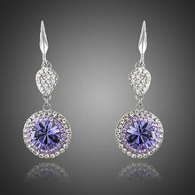 Load image into Gallery viewer, Round Purple Cubic Zirconia Drop Earrings - KHAISTA Fashion Jewellery