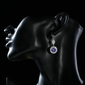 Round Purple Cubic Zirconia Drop Earrings - KHAISTA Fashion Jewellery