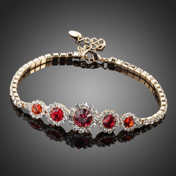 Round Red Classic Crystal Bracelet - KHAISTA Fashion Jewellery