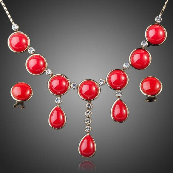 Round Red Earrings and Necklace Jewelry Set - KHAISTA Fashion Jewellery