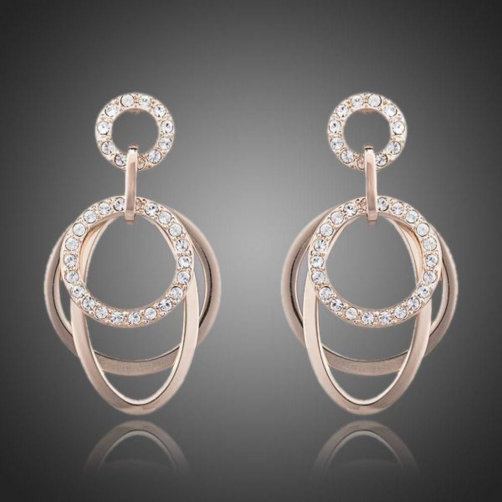 Round Rhinestones Drop Earrings - KHAISTA Fashion Jewellery