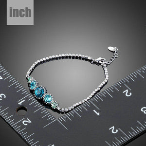 Round Sea Blue Studs Crystal Bracelet - KHAISTA Fashion Jewellery