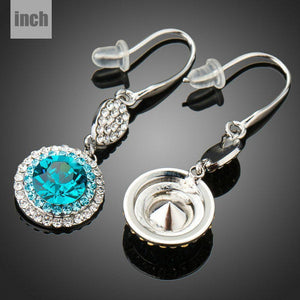 Round SeaBlue Hook Drop Earrings - KHAISTA Fashion Jewellery