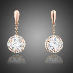 Round Shaped Cubic Zirconia Drop Earrings - KHAISTA Fashion Jewellery
