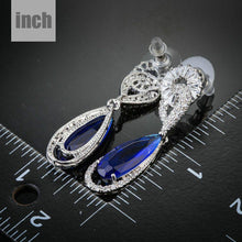 Load image into Gallery viewer, Royal Blue Cubic Zirconia Drop Earrings - KHAISTA Fashion Jewellery